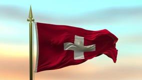 Nationsflagga av Schweiz som vinkar i vinden mot öglan för ultrarapid för solnedgånghimmelbakgrund den sömlösa stock video