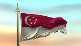 Nationsflagga av Singapore som vinkar i vinden mot öglan för ultrarapid för solnedgånghimmelbakgrund den sömlösa stock video