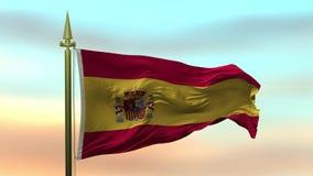 Nationsflagga av Spanien som vinkar i vinden mot öglan för ultrarapid för solnedgånghimmelbakgrund den sömlösa lager videofilmer