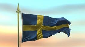 Nationsflagga av Sverige som vinkar i vinden mot öglan för ultrarapid för solnedgånghimmelbakgrund den sömlösa stock video