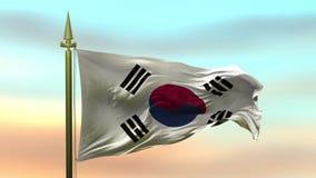 Nationsflagga av Sydkorea som vinkar i vinden mot öglan för ultrarapid för solnedgånghimmelbakgrund den sömlösa