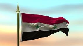 Nationsflagga av Syrien som vinkar i vinden mot öglan för ultrarapid för solnedgånghimmelbakgrund den sömlösa lager videofilmer