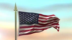 Nationsflagga av USA som vinkar i vinden mot ultrarapiden för solnedgånghimmelbakgrund