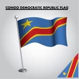 Nationsflagga för flagga för DEMOKRATISK REPUBLIK för KONGOFLODEN av den DEMOKRATISKA REPUBLIKEN för KONGOFLODEN på en pol stock illustrationer