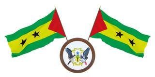 Nationsflagga och illustrationen för vapensköld 3D av São Tomé och Príncipe Bakgrund f?r redakt?rer och formgivare nationellt stock illustrationer