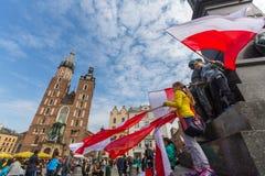 Nationsflaggadag av Republiken Polen (vid handlingen av 20 Februari 2004) som firas mellan ferierna Royaltyfri Bild