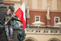 Nationsflaggadag av Republiken Polen (vid handlingen av 20 Februari 2004) som firas mellan ferierna Fotografering för Bildbyråer