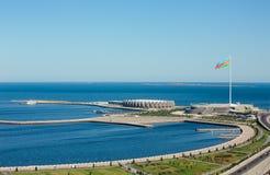 Nationsflaggafyrkant i Baku fotografering för bildbyråer