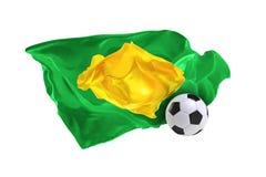Nationsflaggan av Brasilien FIFA världscup Ryssland 2018 Royaltyfria Bilder