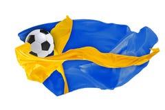 Nationsflaggan av Sverige FIFA världscup Ryssland 2018 Arkivfoto