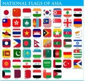 Nationsflaggor av Asien Arkivbild