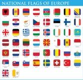 Nationsflaggor av Europa Arkivbilder