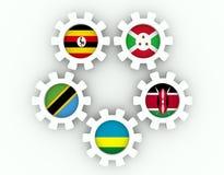 Nationsflaggor för medlemmar för östlig afrikangemenskap Royaltyfri Fotografi