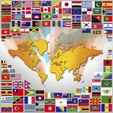 Nationsflaggor och översikt av världen Arkivbilder