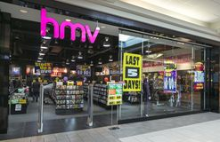 HMV Canada Closure. Nationwide Canadian Closure of HMV Stores captured in Market Mall Shopping Center in Calgary, Alberta.   Ontario based Sunrise Records moved Stock Images