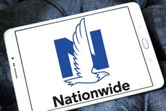 Nationwide Mutual Insurance Company logo. Logo of Nationwide Mutual Insurance Company on samsung tablet. Nationwide Mutual Insurance Company and affiliated Stock Image