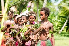 Schoolgirls celebrating national anthem on national independence day anniversary of Papua New Guinea, Kopar, Sepik River