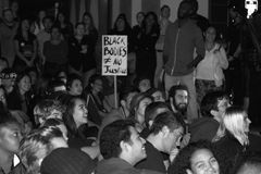 Racism Protest. Santa Barbara, CA 11/25/2014 8 PM, protest of more then 100 people in front of the Santa Barbara Police station, draws heavy police in riot gear Stock Photo