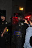 Police in Riot Gear. Santa Barbara, CA 11/25/2014 8 PM, protest of more then 100 people in front of the Santa Barbara Police station, draws heavy police in riot Stock Photos