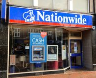 Nationwide Store Front. Reading, United Kingdom - June 22 2018: The store frontage of Nationwide Bank in Broad St stock image