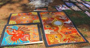 Native Aboriginal arts at the market in Alice Springs, Australia Stock Photo