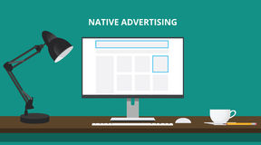 Native advertising concept with advertise place in website computer. Illustration Royalty Free Stock Photo