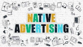 Native Advertising Concept with Doodle Design Icons. vector illustration