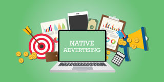 Native advertising concept with marketing media illustrated in laptop Royalty Free Stock Images