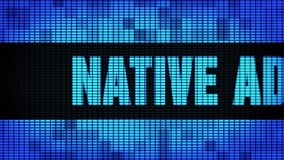 Native Advertising Front Text Scrolling LED Wall Pannel Display Sign Board. Native Advertising Front Text Scrolling on Light Blue Digital LED Display Board Pixel stock footage