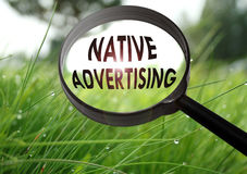Native advertising. Magnifying glass with the word native advertising on grass background. Selective focus Royalty Free Stock Photography