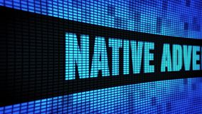 Native Advertising Side Text Scrolling LED Wall Pannel Display Sign Board. Native Advertising Side Text Scrolling on Light Blue Digital LED Display Board Pixel stock footage