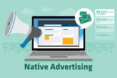 Native advertising. Vector illustration flat design concept Stock Image