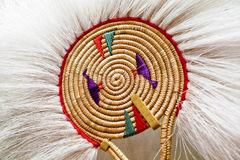 Native Alaskan dancing fan. Made out of fox fur and woven grass royalty free stock photos