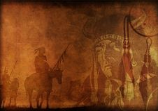 Native America. Vintage Looking Background with n Shaman and Warriors Illustration Royalty Free Stock Photos