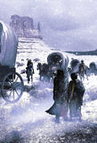Native american abandon. Letting them abandoned under snow and cold, a colonists's wagon train, monitored by two driver chiefs, passes close to a native american Stock Photography