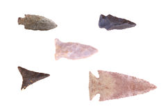 Native American Arrowheads. Group of Native American arrowheads found in Eastern Kentucky isolated on a white background Stock Image