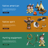 Native American Banners With National  Attributes Stock Images