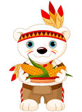 Native American Bear. Illustration of cute Bear wears Native American costume Stock Photos