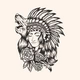 Native American beautiful Girl vector illustration stock illustration