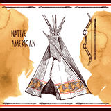 Native american. Beautiful han drawn sketch illustration native american Royalty Free Stock Image