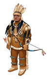 Native American with bow and arrow Royalty Free Stock Photo