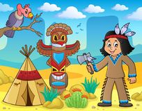 Native American boy theme image 3. Eps10 vector illustration Stock Images