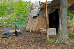 Native American Campsite. With homemade hut stock photo