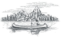 Native american in canoe boat. Native american rowing indian in canoe boat on mountain landscape. Hand drawn vector illustration Stock Images
