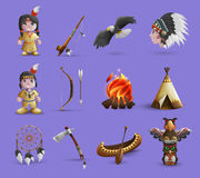 Native American Cartoon  Icons Royalty Free Stock Image