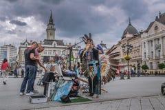 Native American Chant in the main street in Novi Sad. Serbia Stock Photo