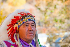Native American Cherokee in Smoky Mountains at Fall III stock photo