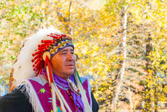 Native American Cherokee in Smoky Mountains at Fall IV Royalty Free Stock Images
