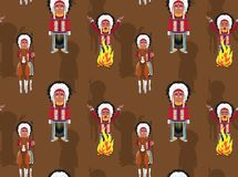 Native American Chief Background Seamless Wallpaper. Cartoon Character Wallpaper EPS10 File Format Royalty Free Stock Images