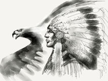 Native american Chief Illustration Royalty Free Stock Photos